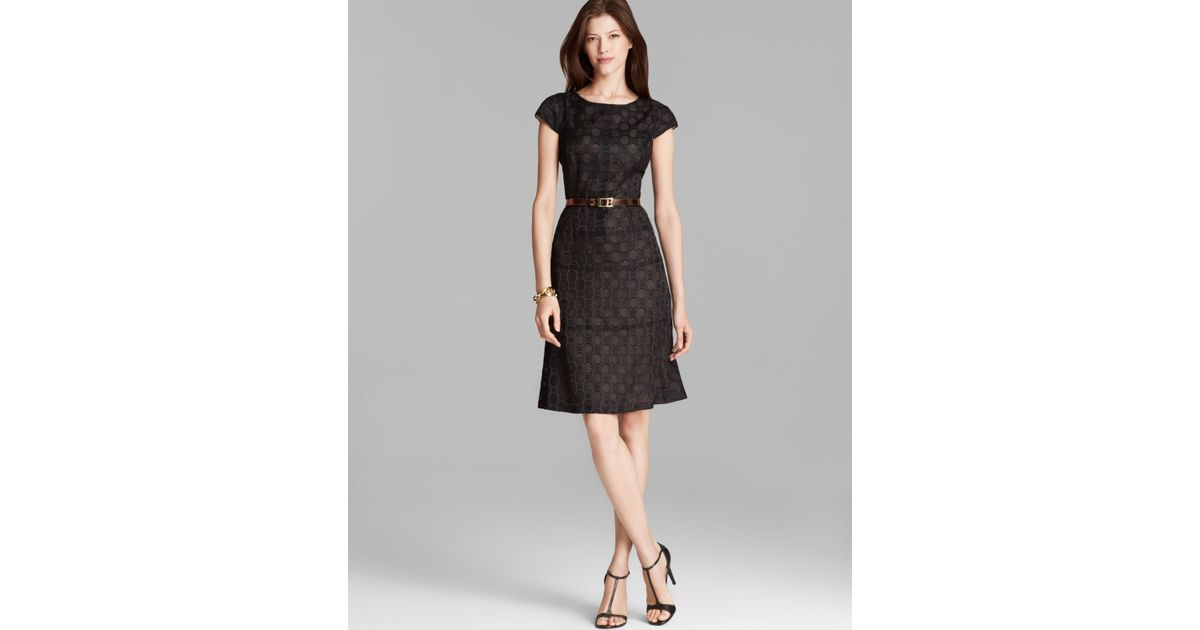 Lyst Anne Klein Dress Cap Sleeve Polka Dot Jacquard In Black