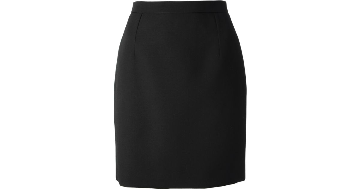 Saint laurent Short Pencil Skirt in Black | Lyst