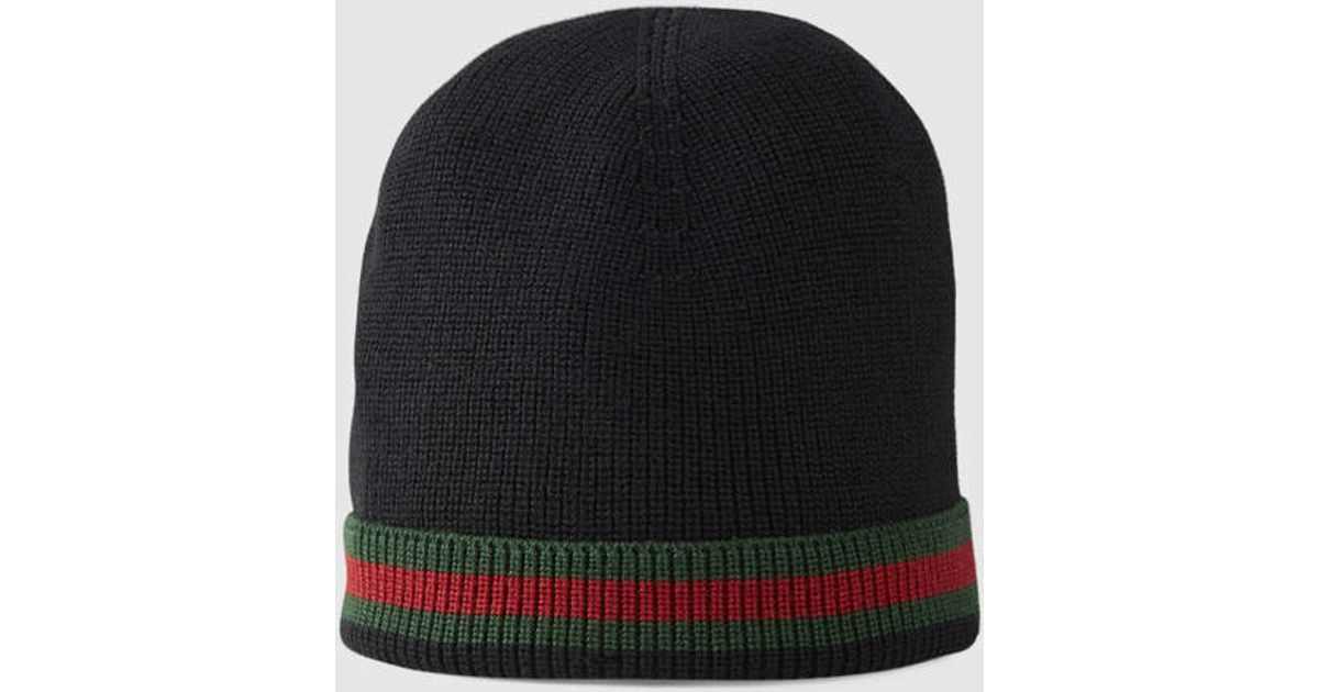 5b2995a9c49 Lyst - Gucci Knit Wool Web Hat in Black for Men