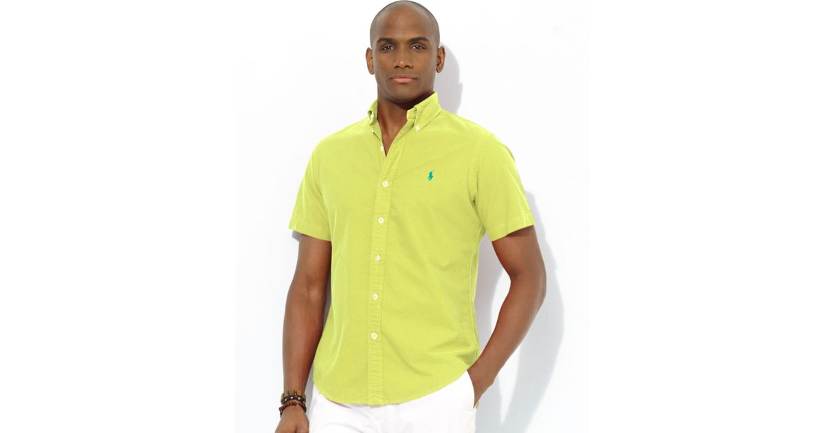 Polo ralph lauren Polo Classicfit Shortsleeved Oxford Sport Shirt in Yellow for Men | Lyst