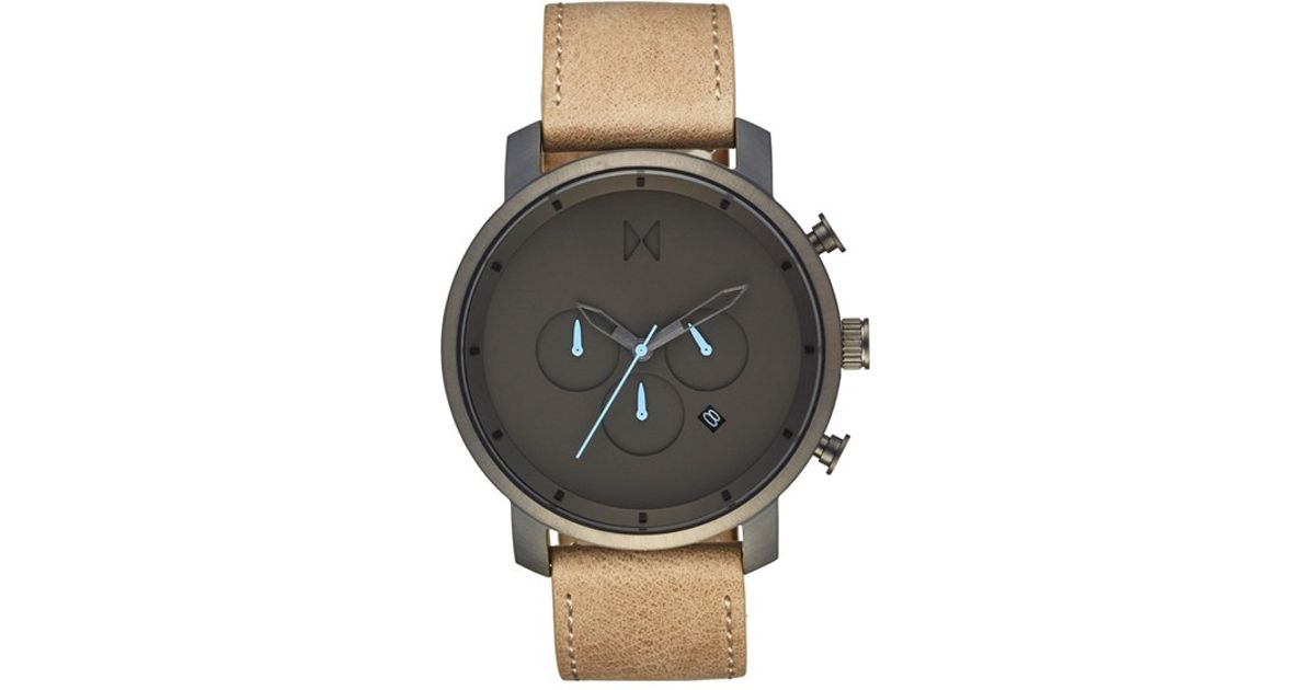 Mvmt Chronograph Leather Strap Watch In Gold For Men