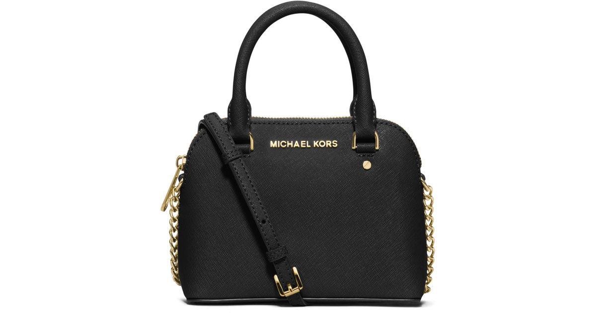 Lyst - Michael Kors Cindy Extra-small Saffiano Leather Crossbody in Black dd475e0155