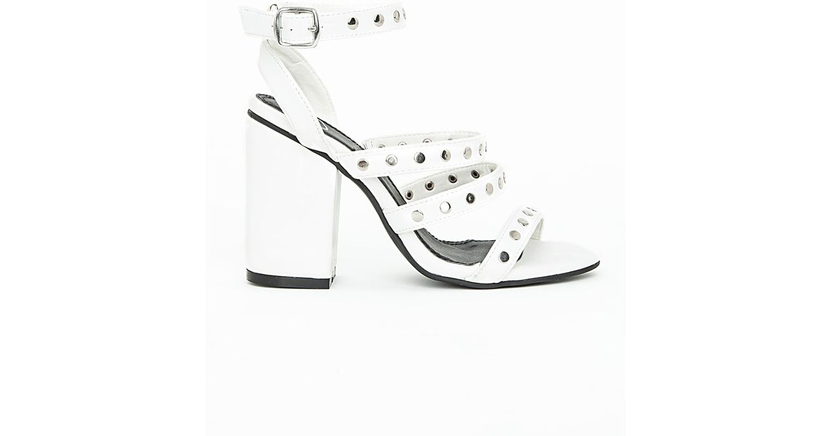 3243934ca29 Missguided Studded Strappy Block Heel Sandals White in White - Lyst