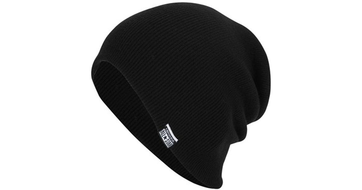 13248788176 Lyst - Converse Slouchy Rib Knit Beanie in Black for Men