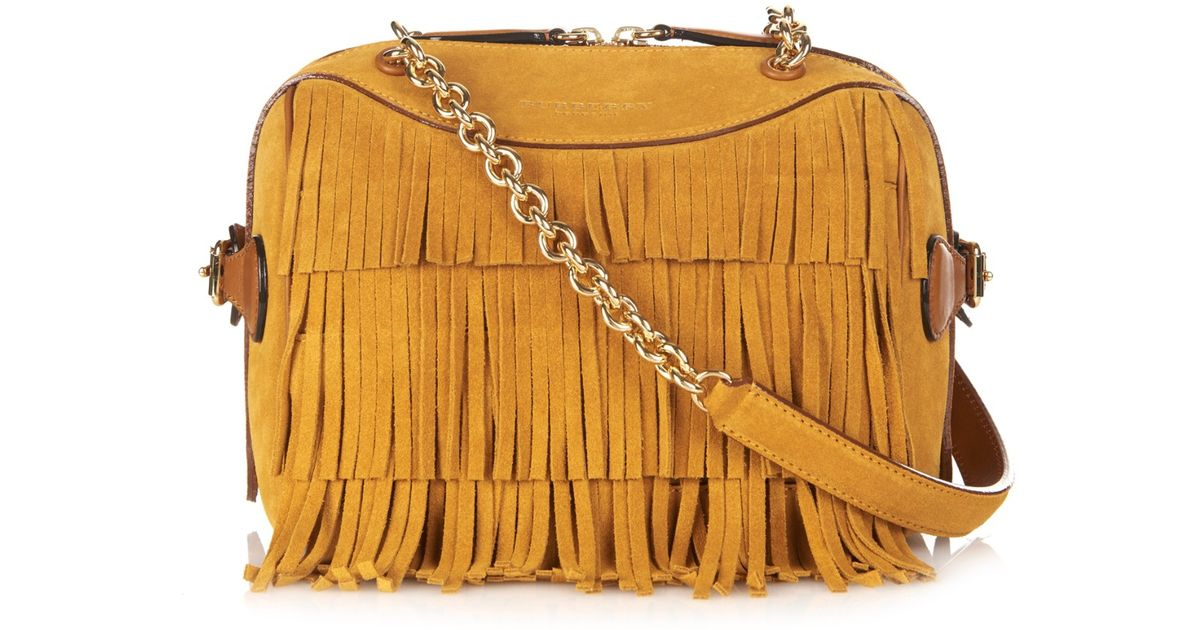 437b0270b862 Lyst - Burberry Prorsum Mini Bee Fringed Suede Shoulder Bag in Brown