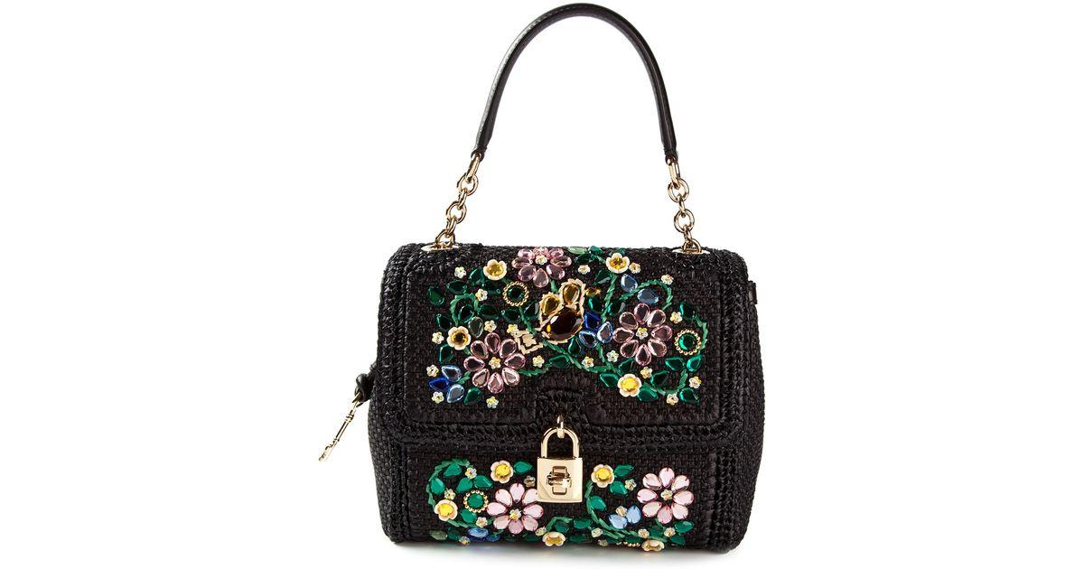 db63ca008b65 Lyst - Dolce   Gabbana Medium Dolce Embellished Shoulder Bag in Black