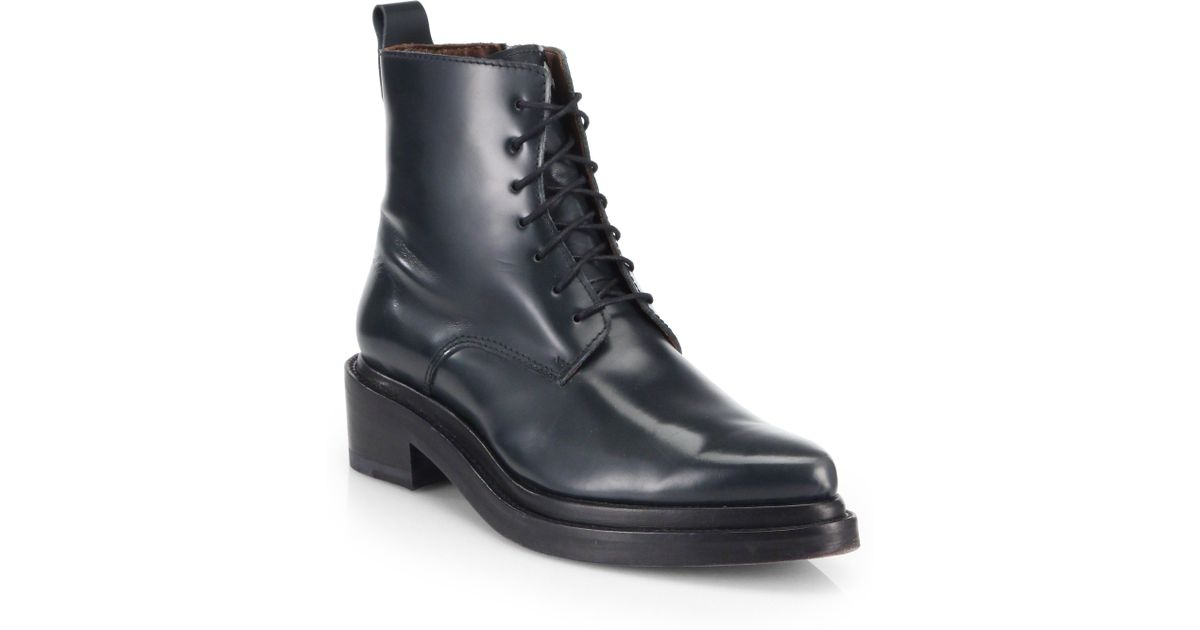 81407ce8 Details about Acne Studios Black Shiny Leather Linden Lace Up combat Ankle  Boots 37 7 7.5