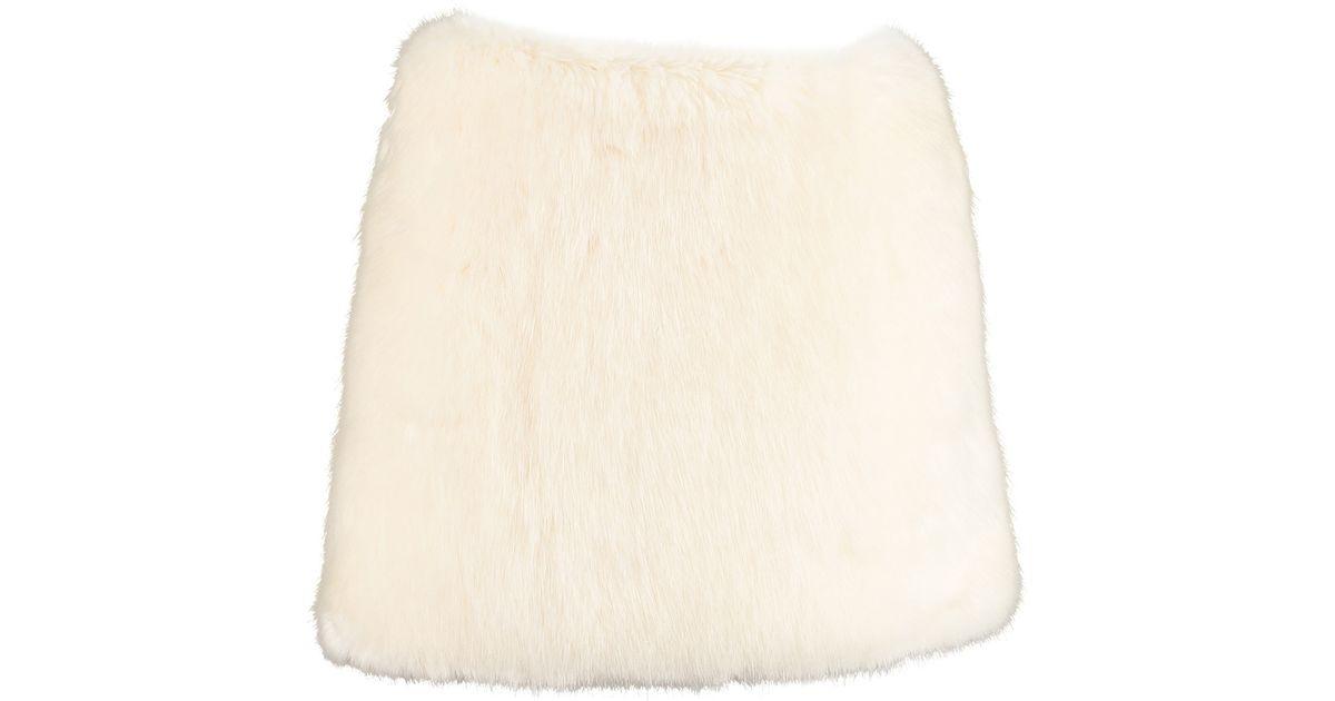8c53b7d214 By Sun White Faux Fur Mini Skirt in White - Lyst