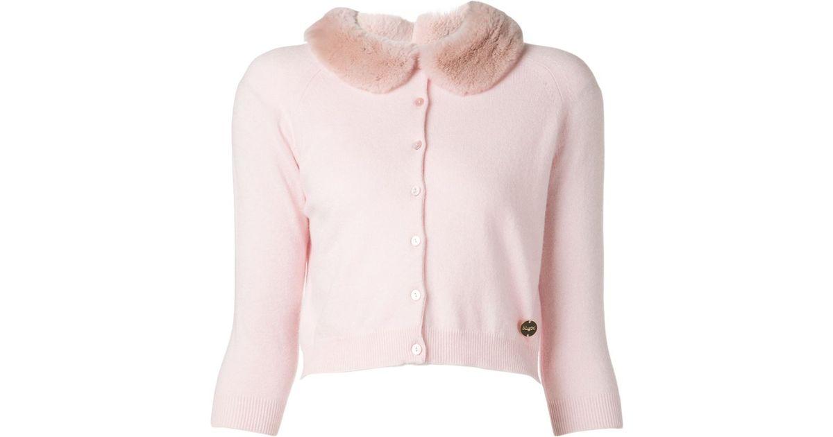 Blugirl blumarine Fur Collar Cardigan in Pink | Lyst