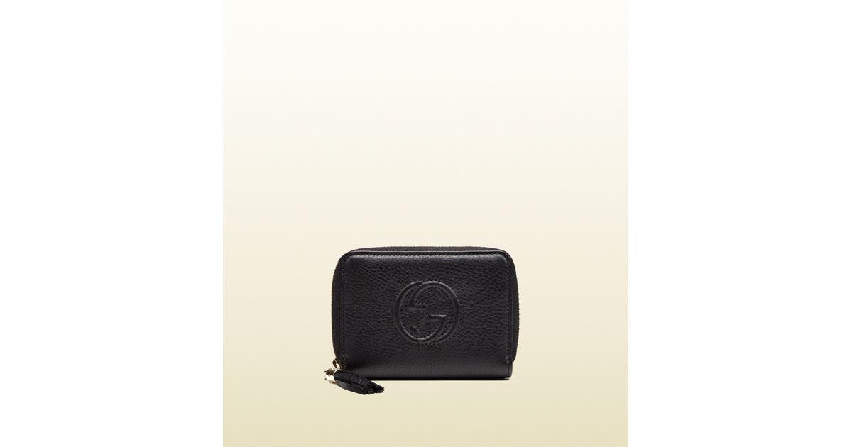 38477104c129 Gucci Soho Leather Zip-around Disco Wallet in Black - Lyst