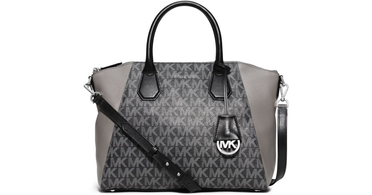 bfd29cef64a4 Michael Kors - Gray Campbell Large Logo And Leather Satchel - Lyst