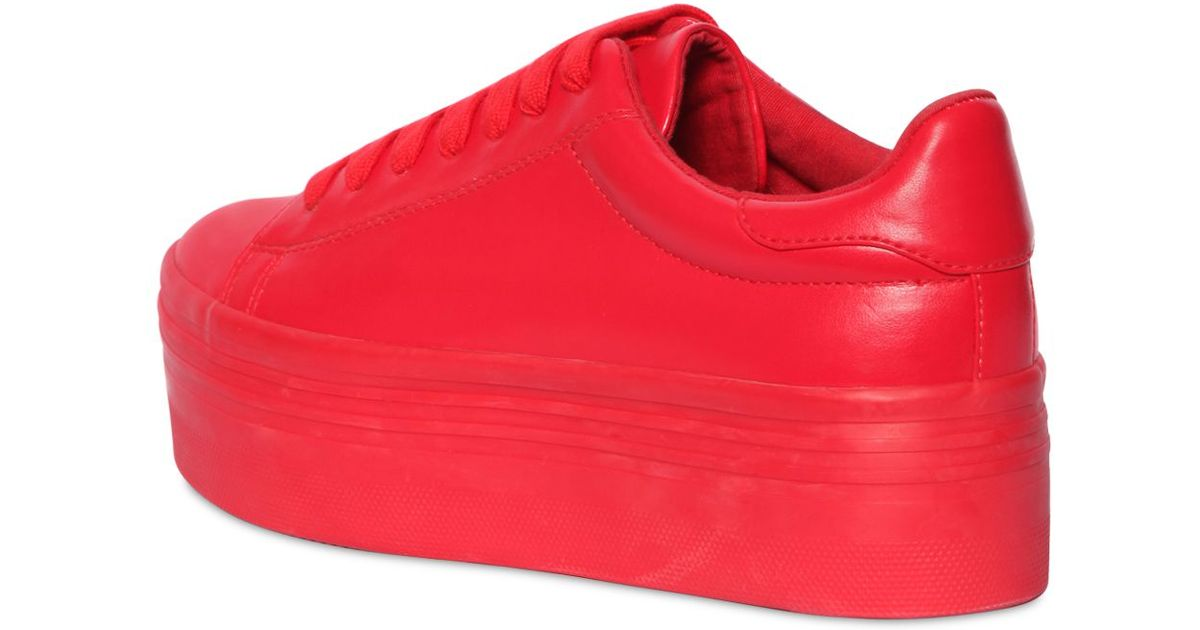 71dcfe791e5c Lyst - Jeffrey Campbell 60mm Stan Faux Leather Platform Sneakers in Red