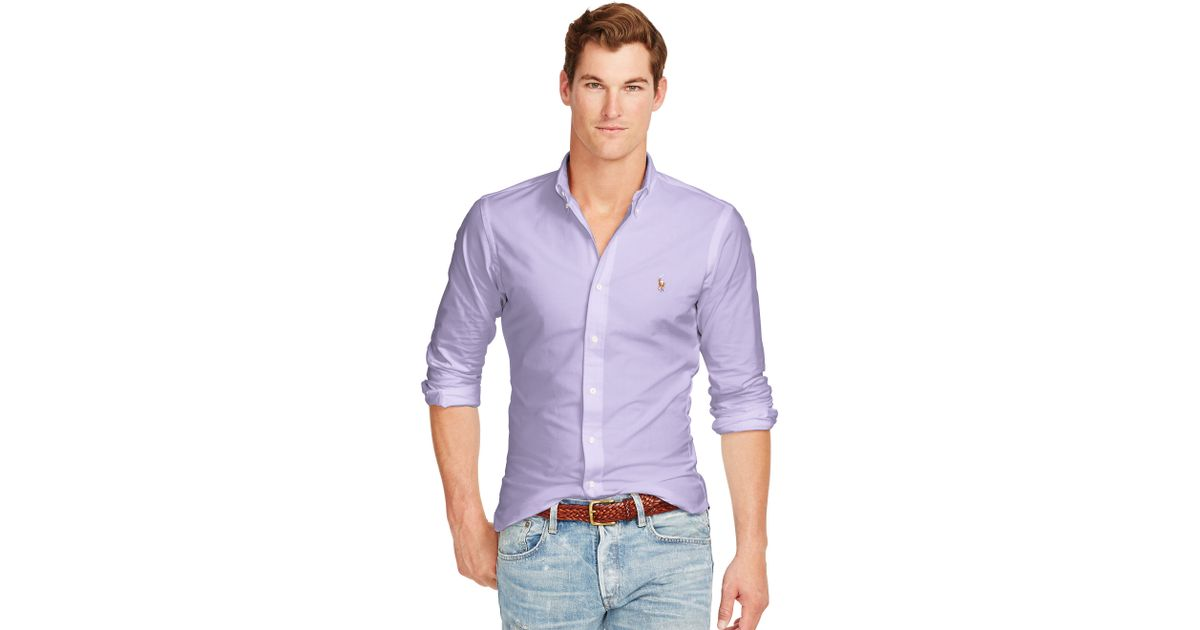 d191633c78a7 Lyst - Polo Ralph Lauren Slim-fit Stretch Oxford Shirt in Purple for Men