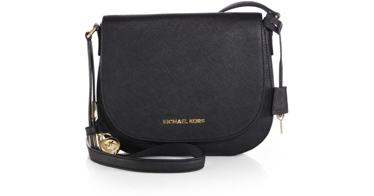 4b4ffb4e1 MICHAEL Michael Kors Hamilton Large Saffiano Leather Shoulder Bag in Black  - Lyst