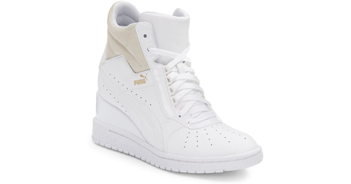 Lyst - PUMA Advantage Leather Wedge Sneakers in White