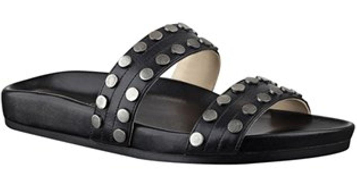 Zelise in Black Flat Lyst Studded Sandals Nine West CxeWEQrdBo