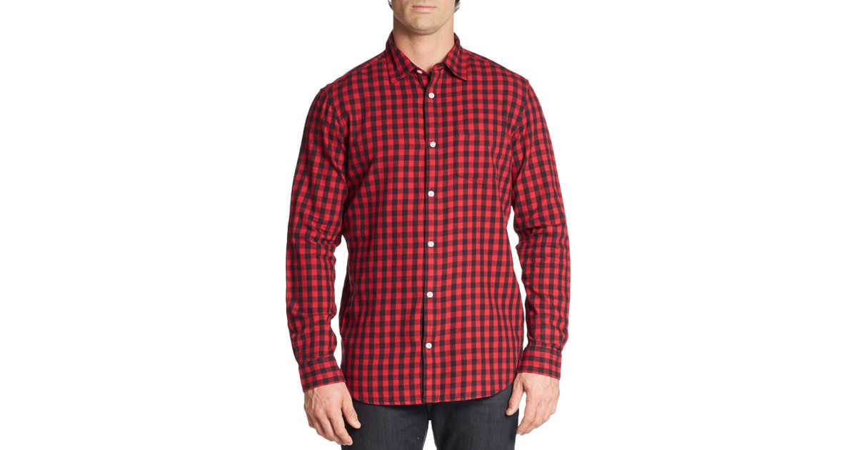 Saks fifth avenue slim fit buffalo plaid cotton flannel for Red buffalo flannel shirt