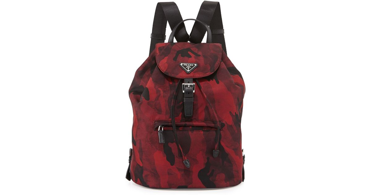 c19b3d80a61d Prada Tessuto Camouflage Backpack in Red for Men - Lyst