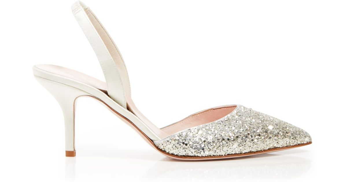 f20e42c32a8e Lyst - Kate Spade Pointed Toe Slingback Evening Pumps - Jeanette Mid Heel  in Metallic