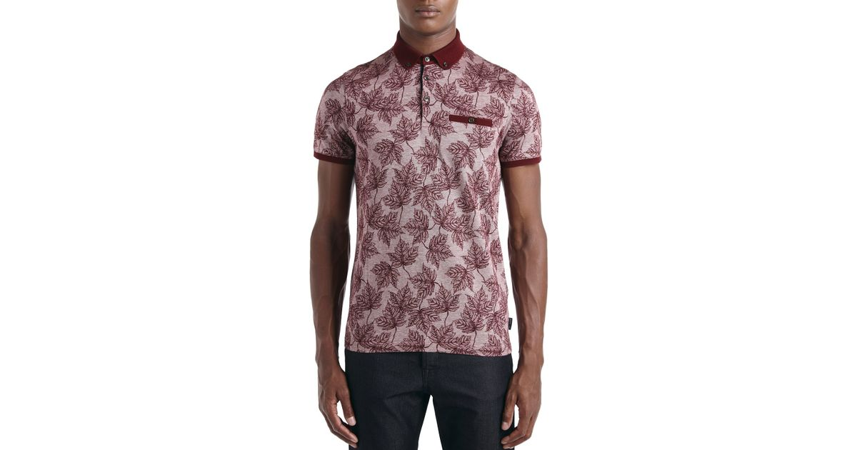 7bf50401 Ted Baker Fastfil Leaf Print Slim Fit Polo in Red for Men - Lyst