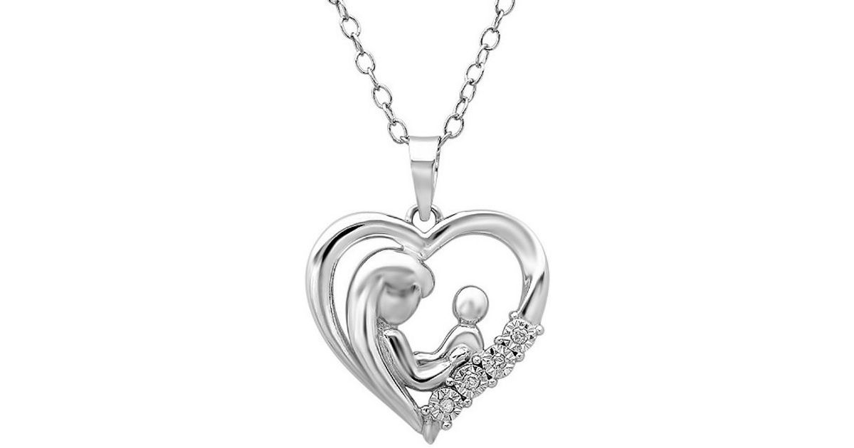 in diamond heart sterling child mother product necklace silver and pendant tw