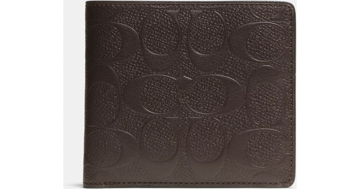 65a18132212a Lyst - COACH Double Billfold Wallet In Signature Crossgrain Leather in Brown  for Men