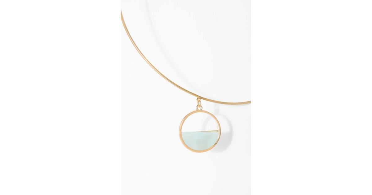 7 For All Mankind Wanderlust + Co Semi Circle Choker In Mint And Gold XixWm9beY