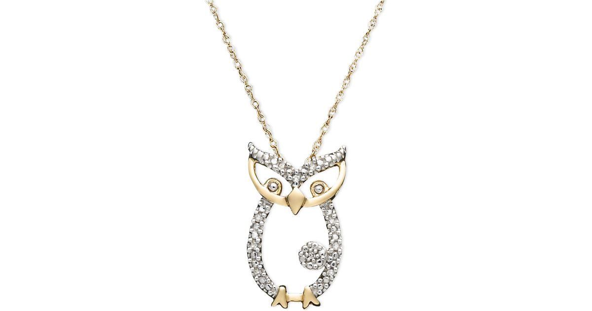 Syna 18kt 925 Owl Pendant With Champagne Diamonds YPmr2zT4ey
