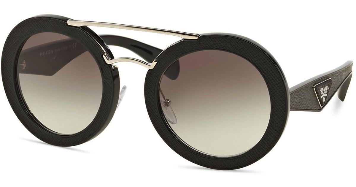 a4bbaa1f913f Lyst - Prada 15ss Size 53 Round Sunglasses in Black