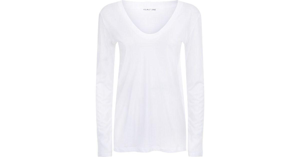 helmut lang scoop neck long sleeve t shirt in white lyst. Black Bedroom Furniture Sets. Home Design Ideas