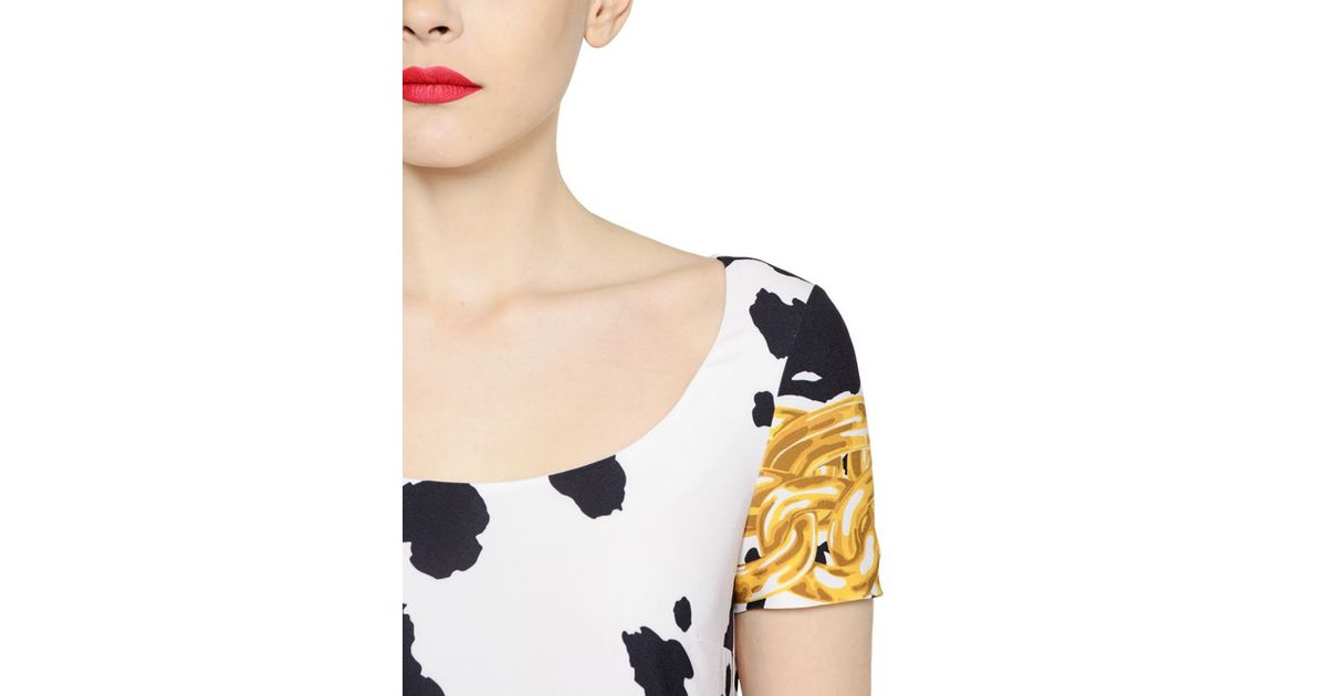 Boutique Moschino Cow Printed Stretch Techno Crepe Dress In Black Lyst