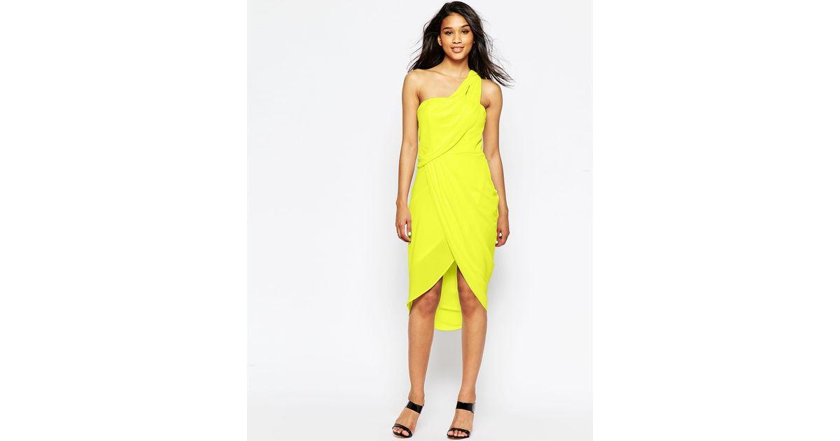 0c681e962 ASOS Asymmetric One Shoulder Drape Midi Dress in Green - Lyst