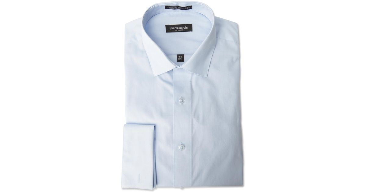 Pierre cardin slim fit french cuff dress shirt in blue for White french cuff shirt slim fit