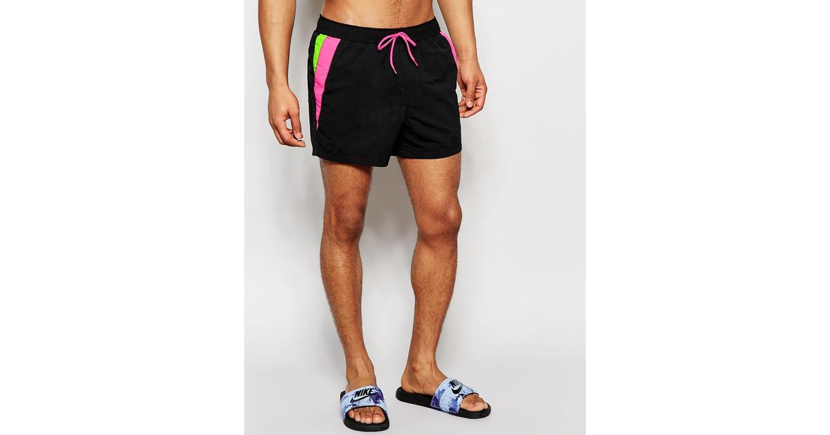 Lyst - Asos Short Length Swim Shorts In Black With Neon Cut And Sew in Black  for Men