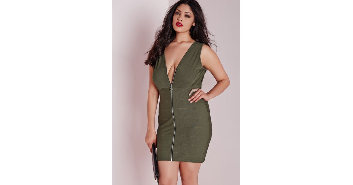 Lyst Missguided Plus Size Zip Front Bandage Dress Khaki In Green