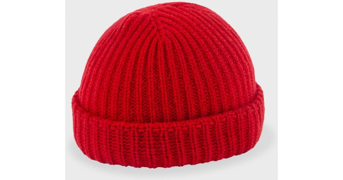 Paul Smith Red Ribbed Knit Wool Beanie Hat in Red for Men - Lyst af55162c888