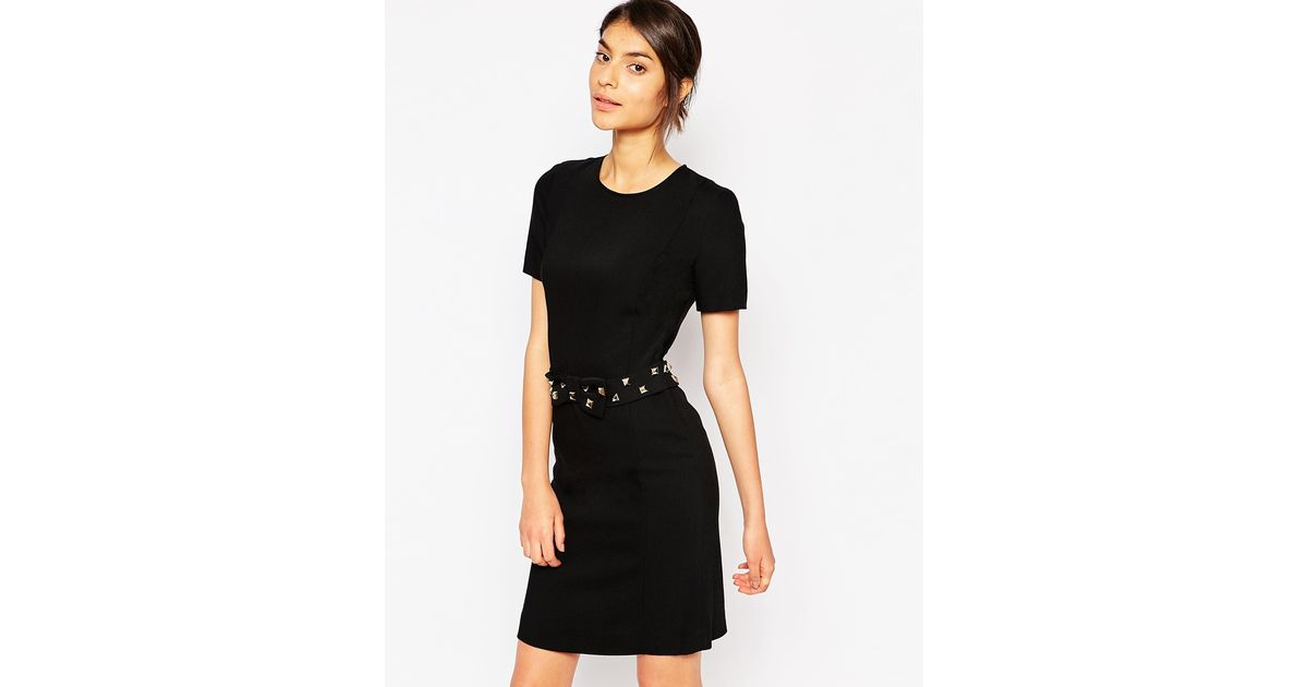 5f58ea5c9f6 Love Moschino Studded Bow Belt Dress in Black - Lyst
