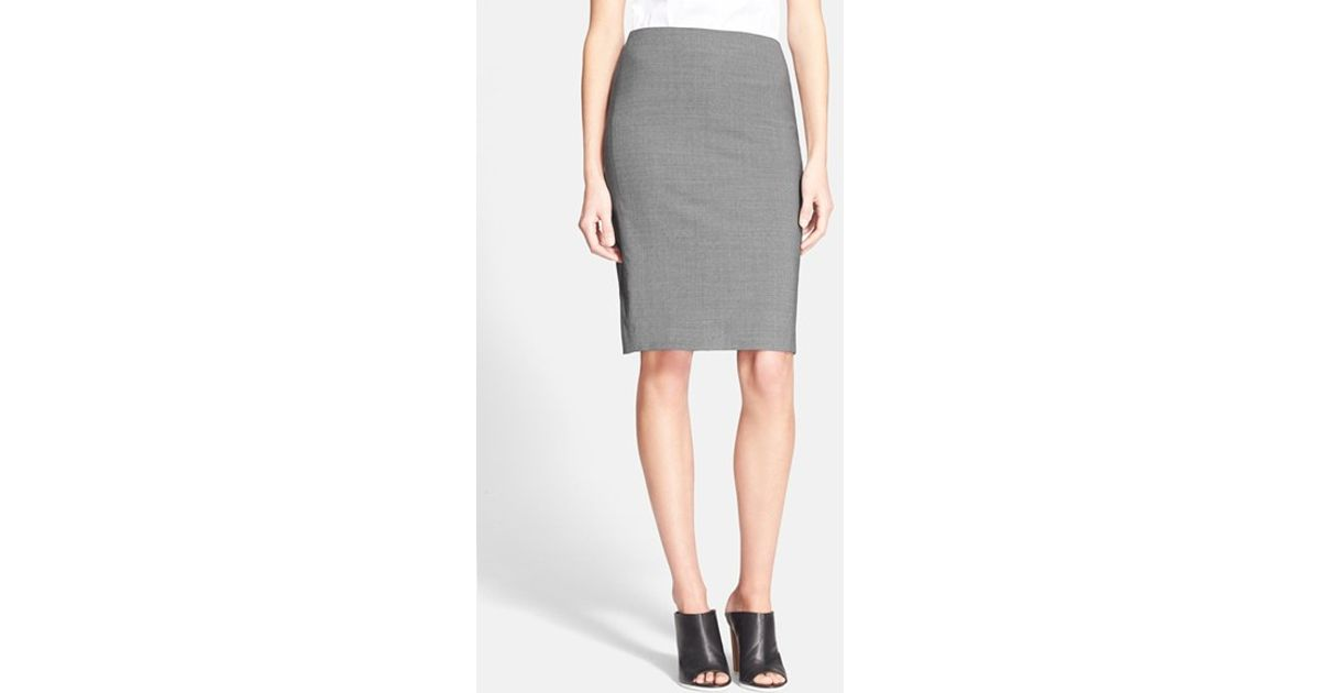 11701ebb01 Theory Stretch Wool Pencil Skirt in Gray - Lyst