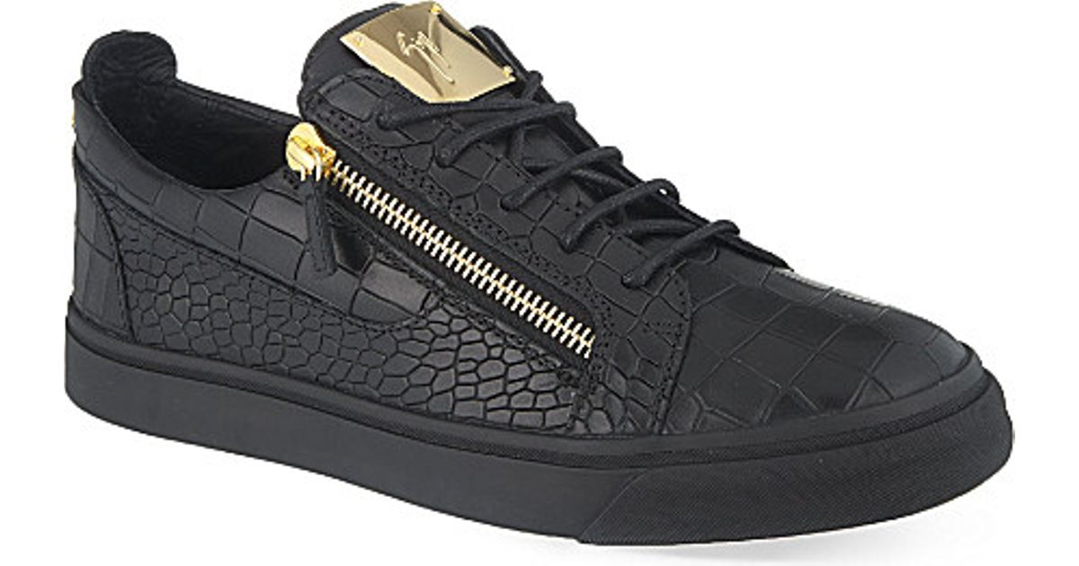 eef66e73e5a6e3 Giuseppe Zanotti Frankie Croc-Embossed Leather Low-Top Sneakers in Black  for Men - Lyst