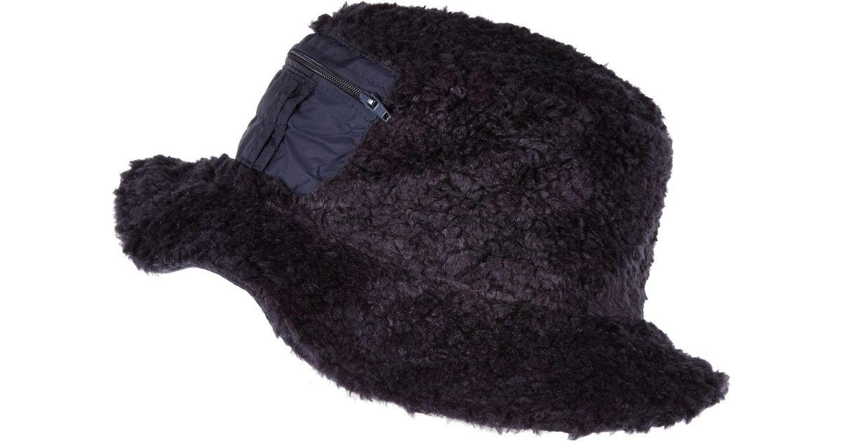 River Island Navy Christopher Shannon Faux Fur Bucket Hat