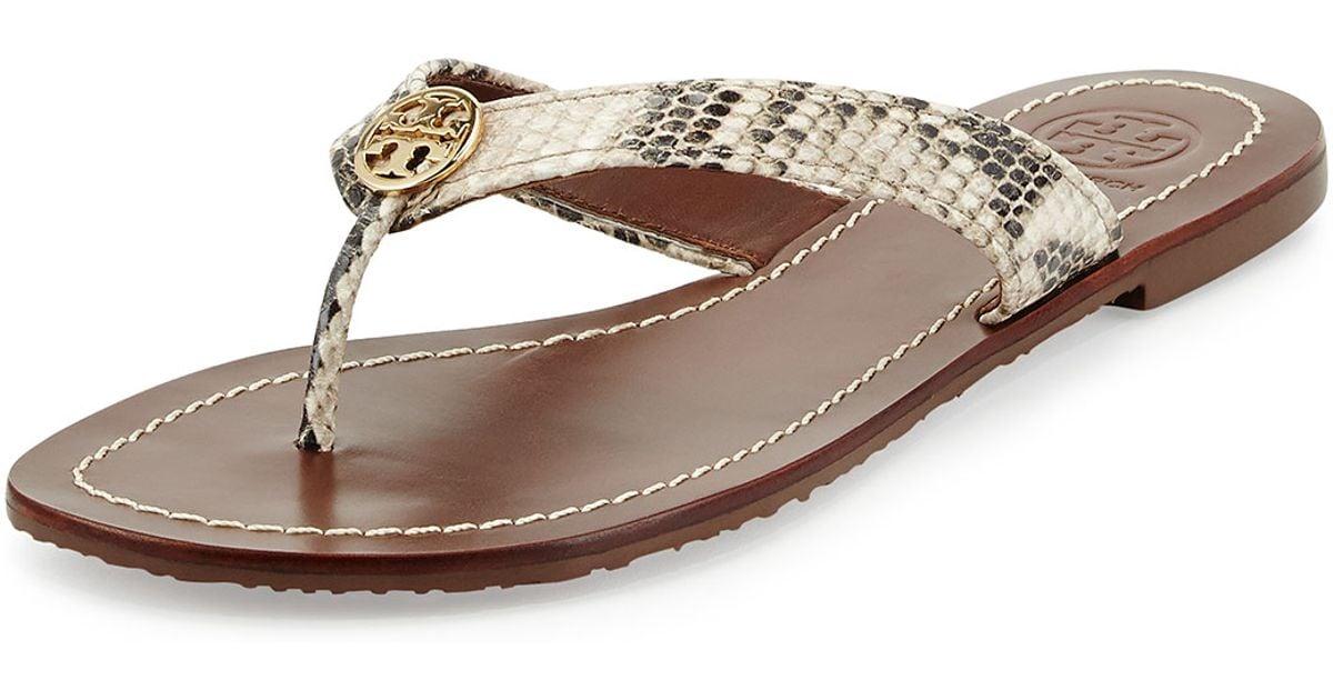 5d2f0f0eb3d5 Lyst - Tory Burch Thora Snake-print Logo Thong Sandal in Metallic