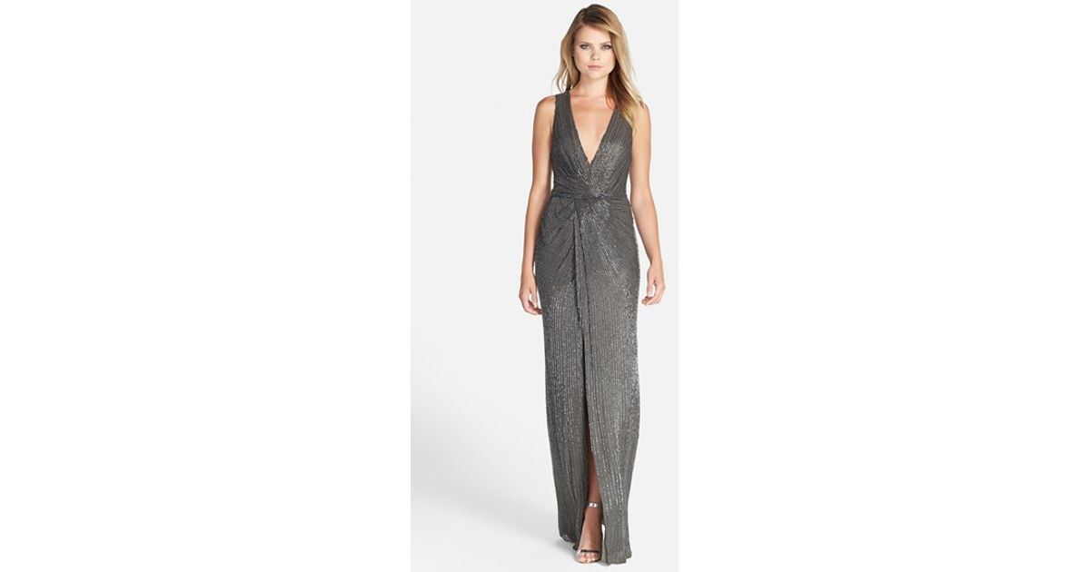 71531306e1f Lyst - Parker Black  monarch  V-neck Beaded Gown in Gray