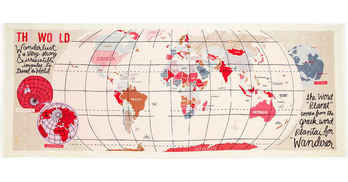 lyst kate spade new york world map scarf