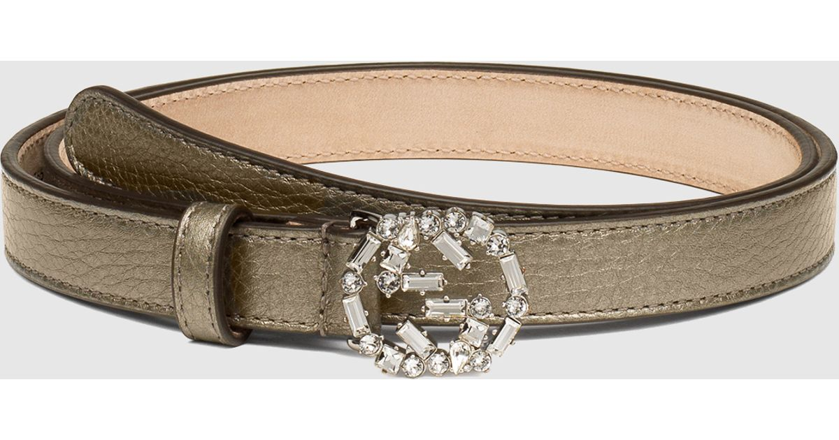 d90404ffd663 Lyst - Gucci Metallic Leather Belt With Crystal Interlocking G Buckle in  Brown