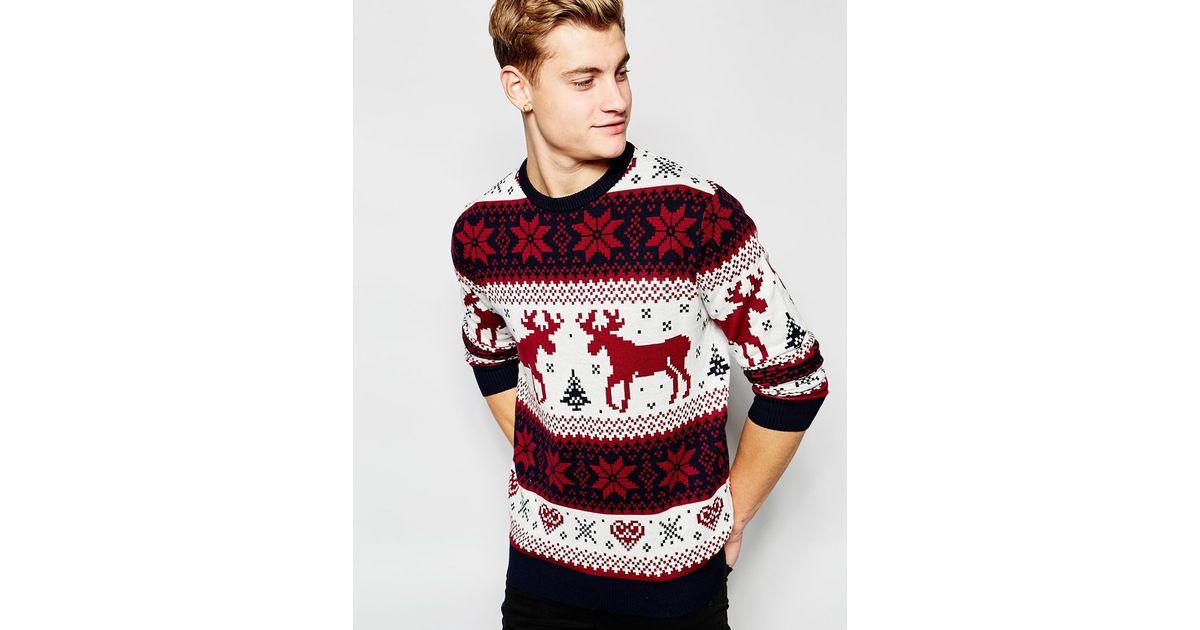 das beste detaillierter Blick neues Design Jack & Jones Red Christmas Reindeer Knitted Jumper for men