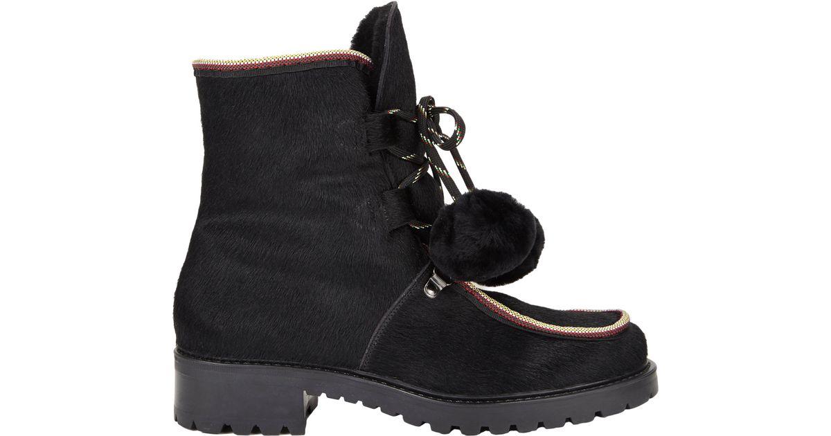 barneys new york s pom pom ankle boots in black