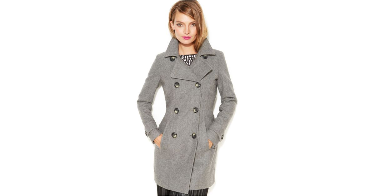 Anne klein Petite Wool-Blend Double-Breasted Pea Coat in Gray | Lyst