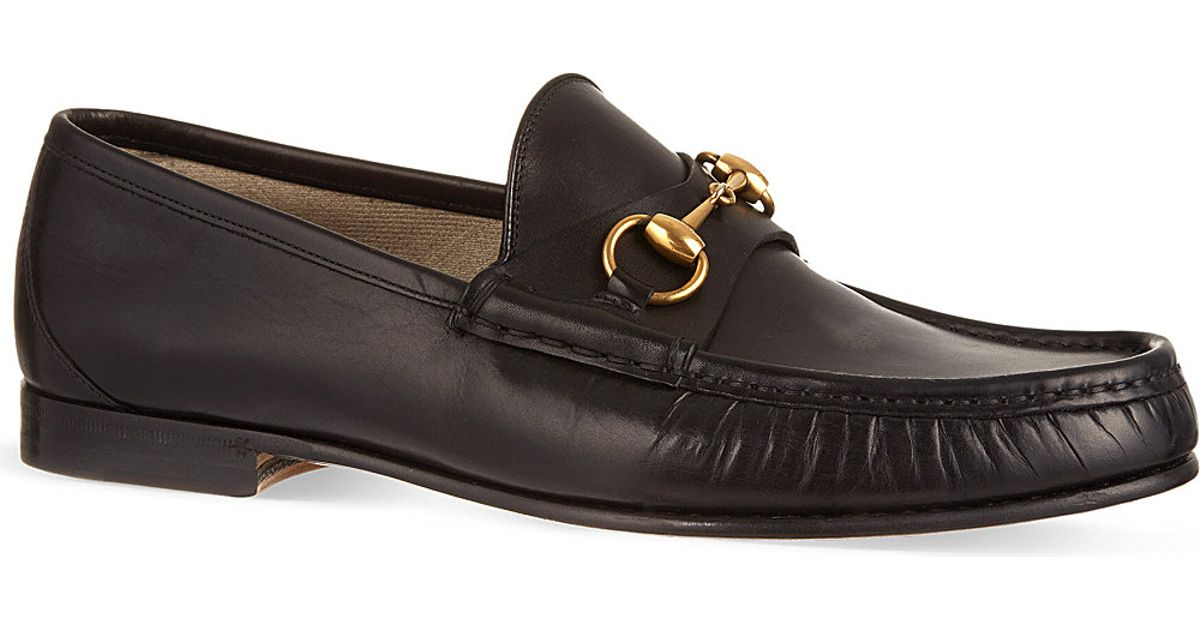 2d3fa67df38 Lyst - Gucci Roos Horsebit Leather Loafers in Black for Men