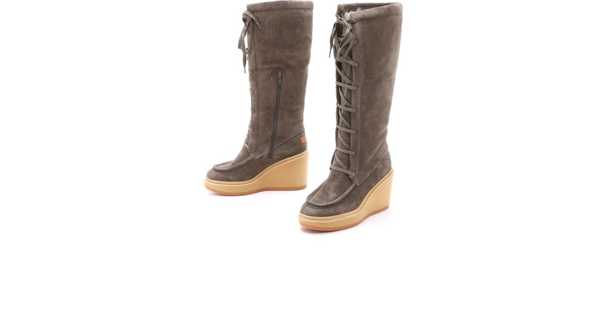 6607e6b3d8d See By Chloé - Gray Tall Wedge Shearling Boots - Elefante/cenere - Lyst