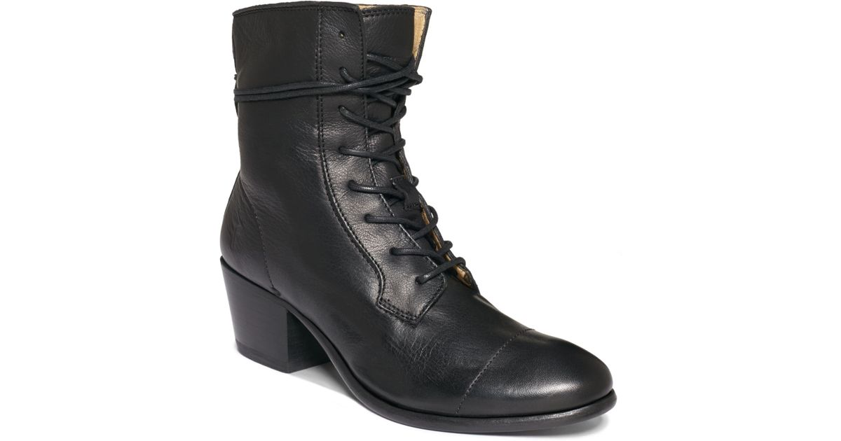Black Frye Womens Leather Boots Courtney Lace Up